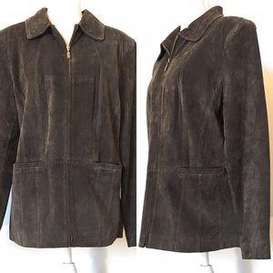 St. John's bay washable suede coat, Sz Large